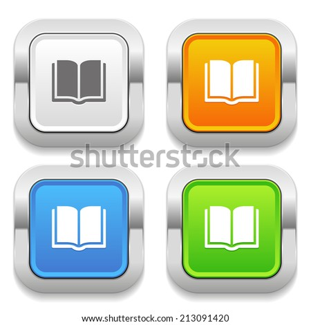 Four square button with different colors and ebook icon - stock vector