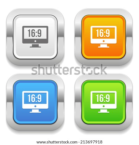 Four square button with different colors and wide screen icon - stock vector