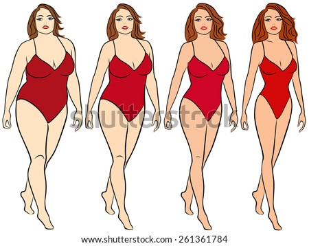 Four stages of a woman on the way to lose weight, colorful vector illustration isolated on white background - stock vector