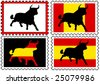 four stamps with a black bull in front of different backgrounds - stock