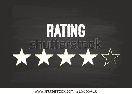 Four Star Rating On Blackboard With White Chalk - stock vector