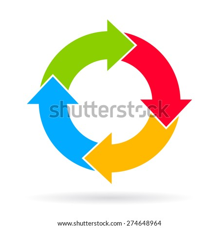 Four steps cycle diagram - stock vector