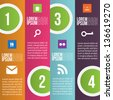 Four steps for infographics options. Four vertical numbered banners - stock
