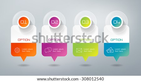 Four steps infographics - can illustrate a strategy, workflow or team work. - stock vector