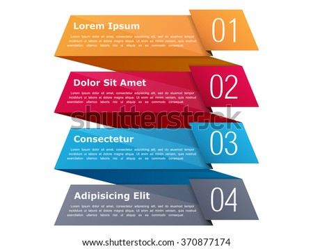 Four steps, infographics template with four elements and place for your text, can be used as process, steps or options, origami ribbon style, vector eps10 illustration