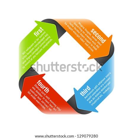 Four steps process arrows - design element. Vector. - stock vector
