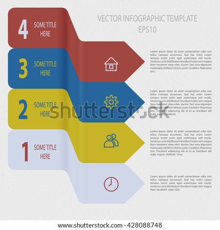 Four steps timeline objects. Infographic template. Abstract folded shape with shadows. Place for text inside shape. Vector illustration.
