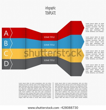 Four steps timeline perspective diagram. Four folded arrows in four colors. Place for text within shape and outside of shape. Infographic template. Vector illustration. - stock vector