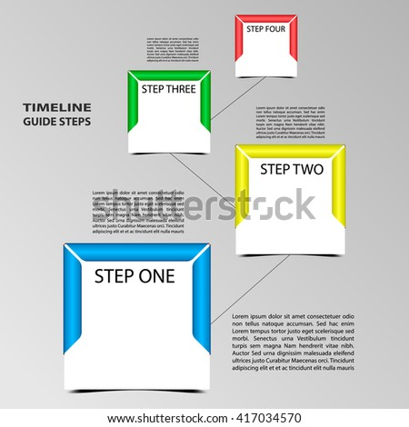 Four steps timeline template. Square format with frame around card. Shadow below objects. Place for text within shape or next.