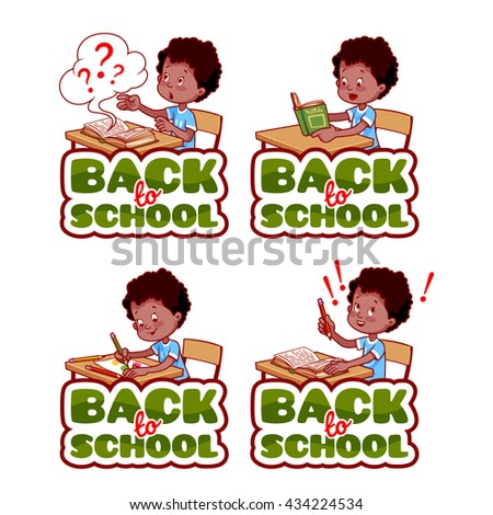 "Four stickers with african american schoolboy. ""Back to school"" banners. Vector cartoon illustration isolated on a white background. - stock vector"
