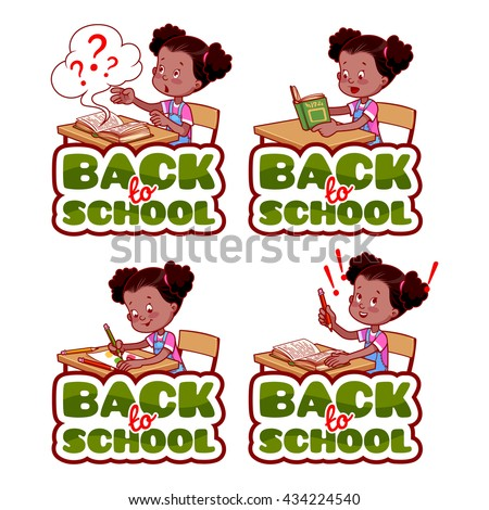 "Four stickers with african american schoolgirl. ""Back to school"" banners. Vector cartoon illustration isolated on a white background. - stock vector"