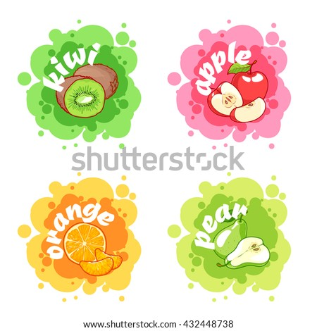 Four stickers with different fruits. Kiwi, apple, orange and pear. Vector cartoon illustration isolated on a white background. - stock vector