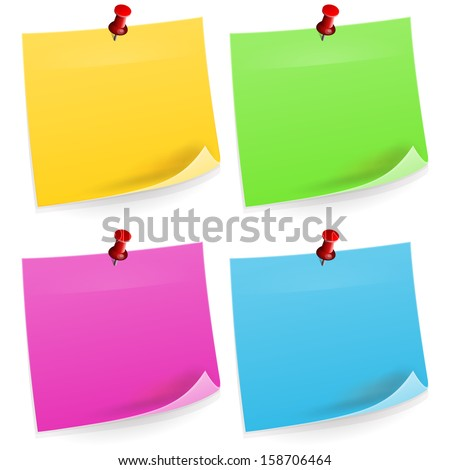 Four Sticky Notes - stock vector