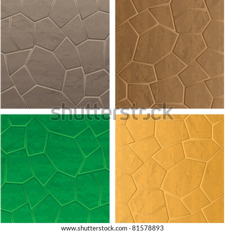 Four stone backrounds different colors - stock vector
