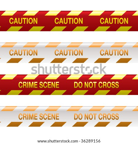 Four strips of crime scene tape in red and yellow with shadow effect - stock vector