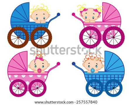 Four strollers with baby-boys and baby-girls, hand drawing vector illustration - stock vector