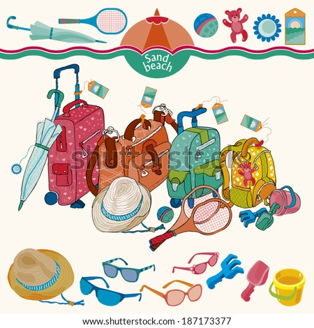 Four suitcases of all members of a family. A set of sunglasses, hat, an umbrella, badminton, a sandbox.