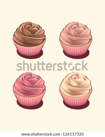 Four tasty rose cupcakes isolated - stock vector