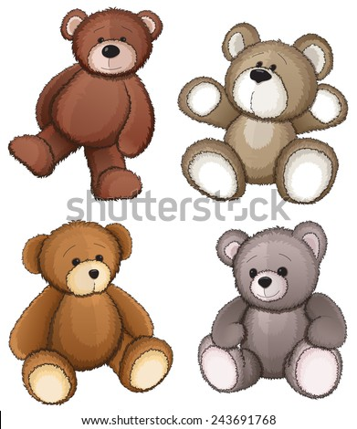 Four teddy bears on a white background - stock vector