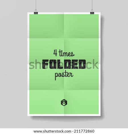 Four times folded poster. Vector. - stock vector