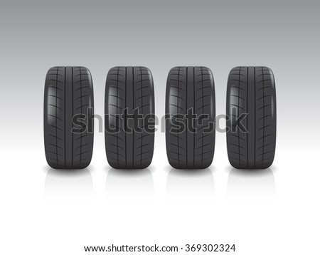 Four Tires Isolated on White Background. Vector illustration of low profile high performance wheels