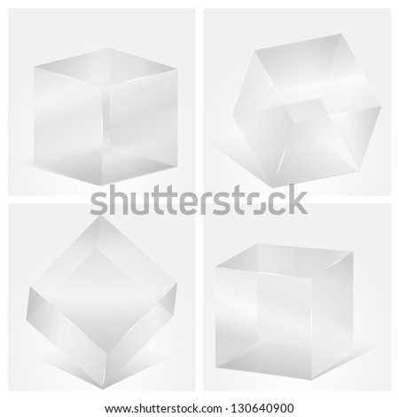 Four transparent gray glass cubes, vector eps10 illustration - stock vector