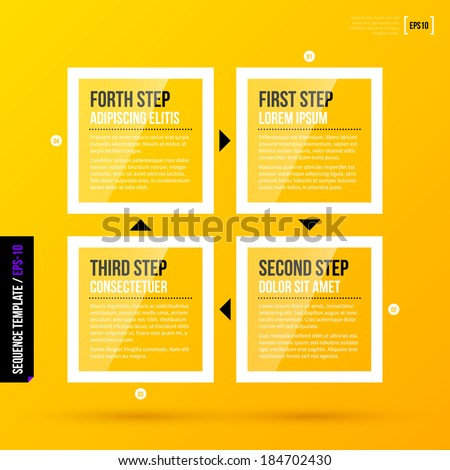 Four transparent square banners with arrows on bright yellow background. EPS10 - stock vector