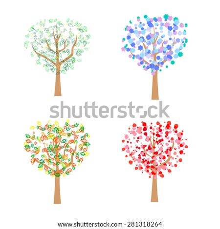 Four trees appropriate to the seasons, abstract, heart-shaped, spring, summer, autumn, winter