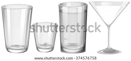 Four types of glasses illustration