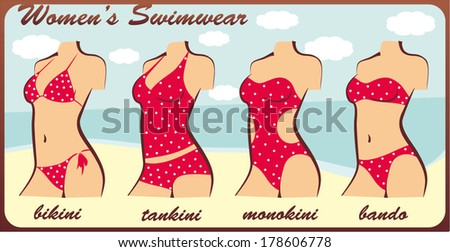 four types of swimsuits. bikini, tankini, monokini, bando. silhouette - stock vector