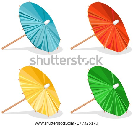 Four Umbrellas. Set of bright decorative cocktail umbrellas. Four variants of colors, blue, red, yellow, green. White background. Some shadows. Vector file is EPS8. All elements are  grouped. - stock vector