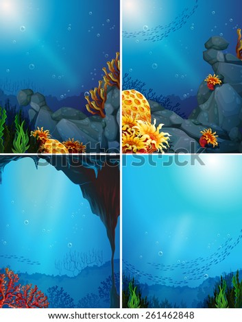 Four underwater scenes and coral reef - stock vector