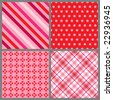 Four Valentine Patterns - stock vector