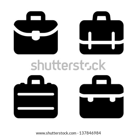 Four variants of briefcase icon - stock vector