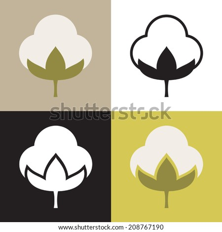 Four variations of vector cotton symbol featuring two color versions and two black and white silhouette versions