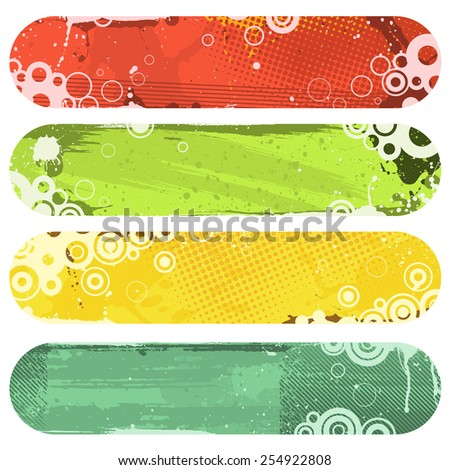Four vector banners. Every circle (and most other objects) are individual objects to make the file easy to edit.  - stock vector