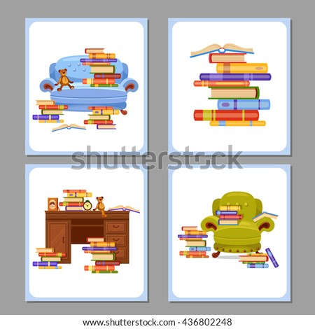 Four vector cards with piles of books on a sofa, an armchair and a table. Love reading. Cartoon interior illustration. Cute furniture. Home library - stock vector