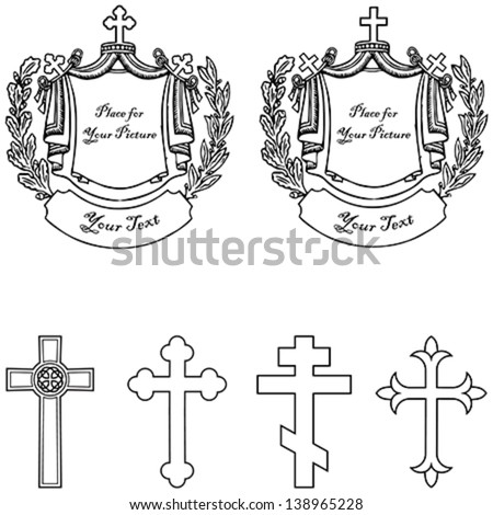 Four vector different cross with two grave stone. Easy to edit. - stock vector