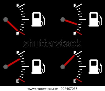 Four vector drawings depicting a fuel gauge. full and empty petrol gauge (gas tank, gas gages), vector art image illustration, isolated on black background - stock vector