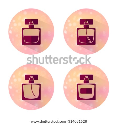 Four vector flat style icons of perfume bottles of beauty, makeup and cosmetics on blurred background. - stock vector