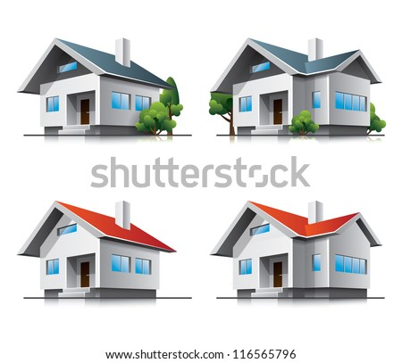 Four vector home buildings illustration in perspective view. Family roof house residential cartoon icons.