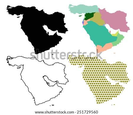 Four Vector maps of The Middle East - stock vector