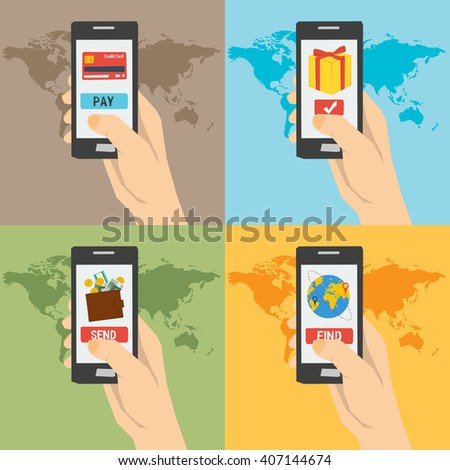 Four vector payment concept hand with phones. Easy payment, find a tickets, booking, online shopping, money sending. Using a smartphone. Flat style. Web infographics - stock vector