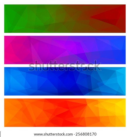 Four vector polygonal backgrounds for banner 3 - stock vector