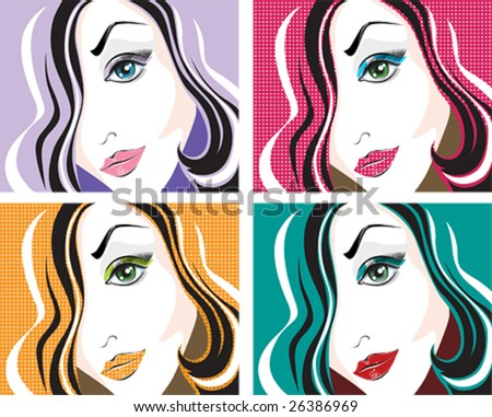 Four vector pop art portraits