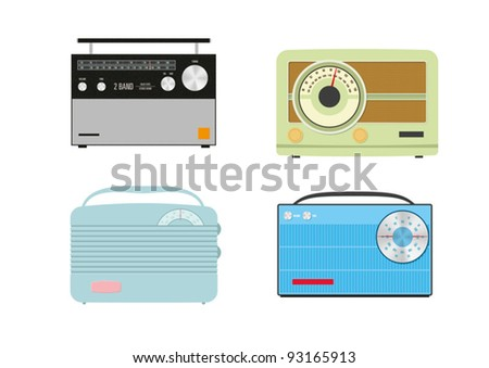 Four vector retro radios on a white background - stock vector
