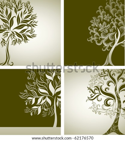 Four Vector samples of design with decorative tree from colorful autumn leafs and place for text. Thanksgiving - stock vector