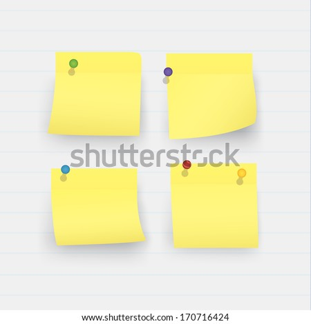 Four vector sticky yellow note papers and colorfully pins. Curly yellow papers with realistic shadow. Yellow papers on linked paper background.