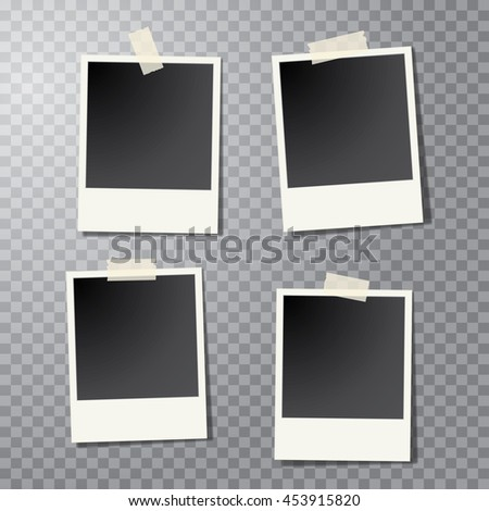 four vector taped vintage photo frames with transparent shadow - stock vector