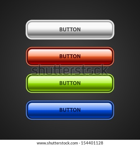 Four vector web buttons. White web button, red web button, green web button, blue web button. - stock vector